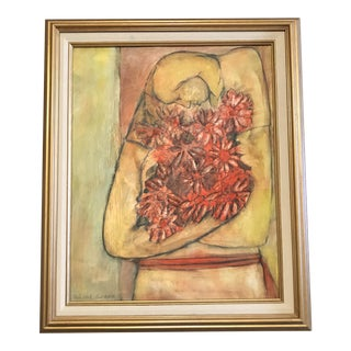 A Striking Signed and Dated Original Painting of a Woman With Flowers