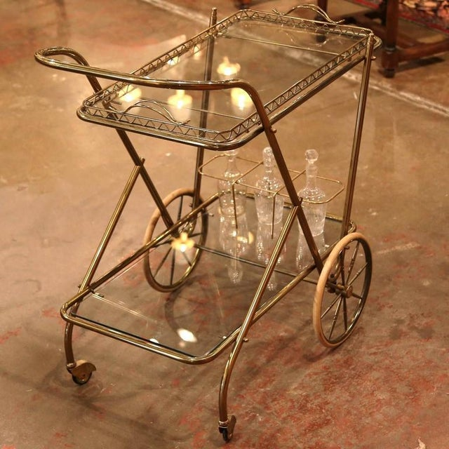 Mid-20th Century French Brass Cart With Removable Upper Tray - Image 3 of 10