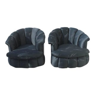 Vintage Tufted Hollywood Regency Swivel Chairs - A Pair