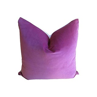 Orchid Velvet & White Linen Pillow