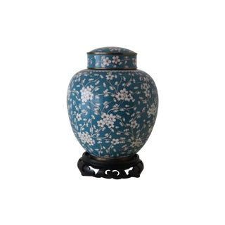 Cloisonné Ginger Jar With Wooden Stand