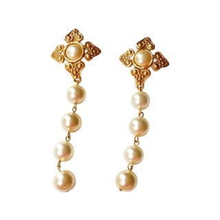 Chanel Argyle Textured Pearl Dangle Earrings