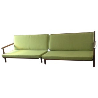 Danish Modern Walnut Two-Piece Green Sofa
