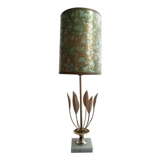 Brass and Marble Foliate Lamp