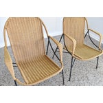 Image of Mid-Century Iron & Rattan Lounge Chairs & Table