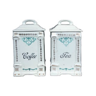 Porcelain Tea & Coffee Containers - Pair