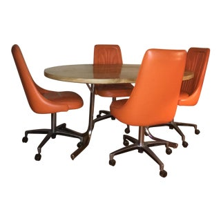 Orange Chromcraft Table & Chairs Set