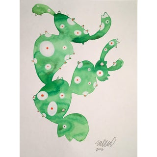 Contemporary Frog Cactus Watercolor Painting