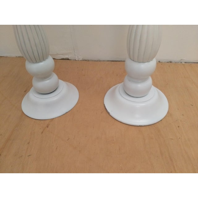 White Wooden Plant Stands - A Pair - Image 3 of 5