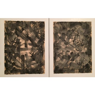 Vintage Abstract Watercolors- A Pair