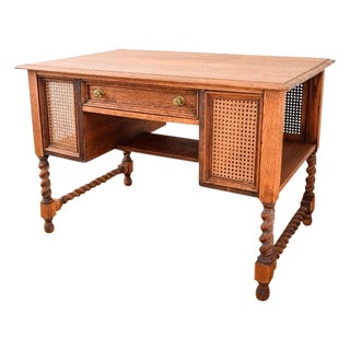 Antique Barley Twist Tiger Oak Desk