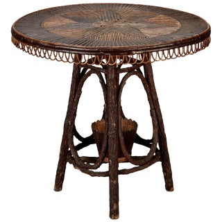 French Round Bent Willow Twig Table With Star Design Inlay