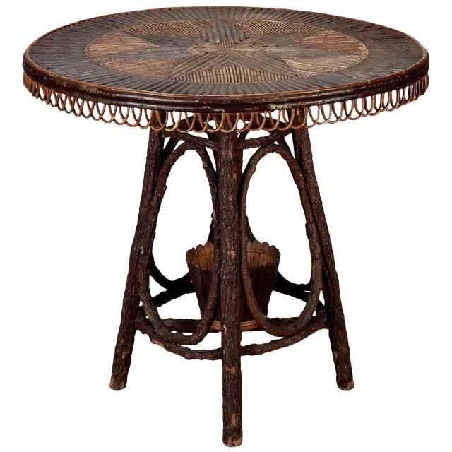 French Round Bent Willow Twig Table With Star Design Inlay - Image 1 of 9