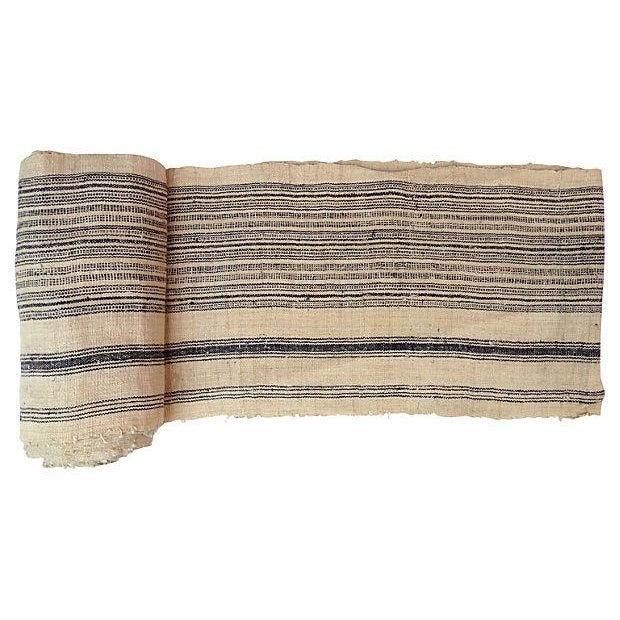 Homespun Striped Linen Fabric - 10.5 Yards - Image 3 of 4