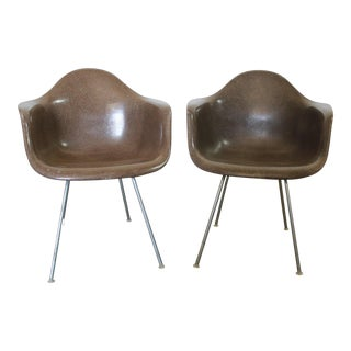 Herman Miller Eames Molded Fiberglass Seal Brown DAX Arm Shell Chairs - a Pair