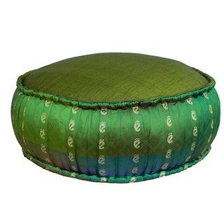 Emerald Ikat Pouf