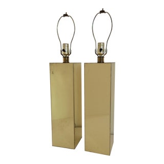 Kovacs Mirrored Brass Table Lamps - A Pair