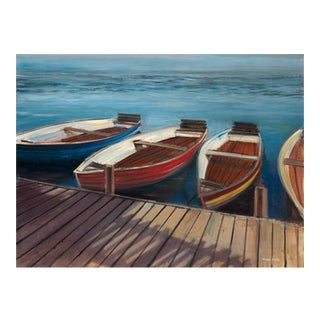 Oil Painting 'Row Boats' on Canvas