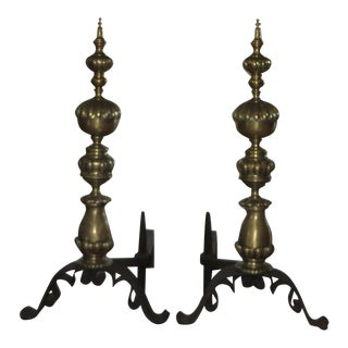 Antique Brass & Iron Andirons - Pair