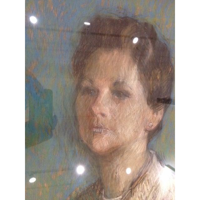 Vintage 1966 Chalk Portrait of a Lady - Image 3 of 5