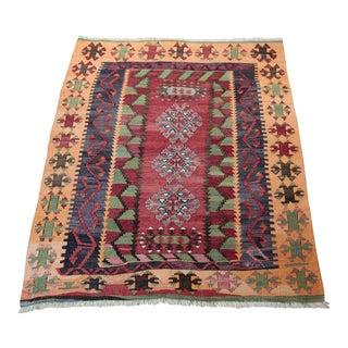 Vintage Turkish Anatolian Kilim Rug - 3′8″ × 4′5″