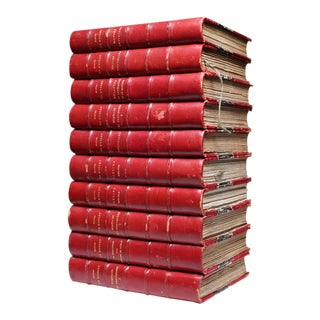 Circa 1908 Red Leather Bound Books - Set of 10