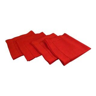 Vintage Orange Linen Table Napkins - Set of 4
