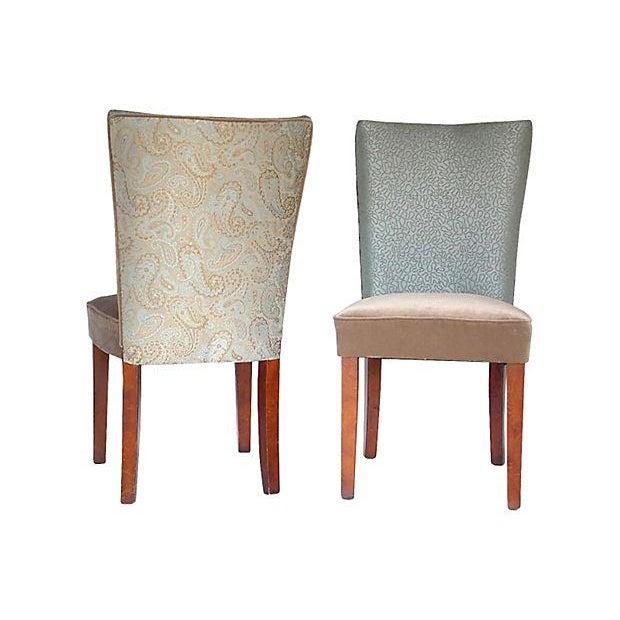 Sea Foam Velvet Swirl Chairs- A Pair - Image 1 of 7