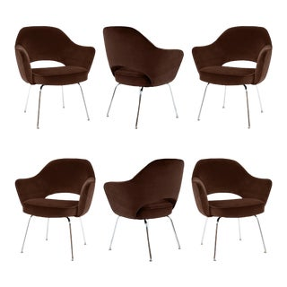 Saarinen Executive Armchairs in Espresso Brown Velvet, Set of Six