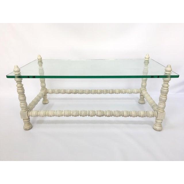 Hollywood Regency Wood & Glass Bobbin Leg Coffee Table - Image 2 of 6