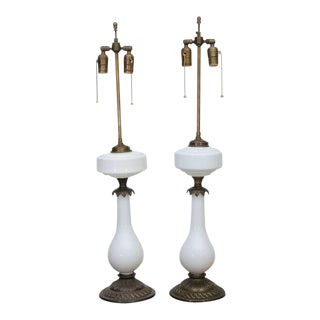 Elegant Electrified Milk Glass / Brass Oil Lamps as Table Lamps