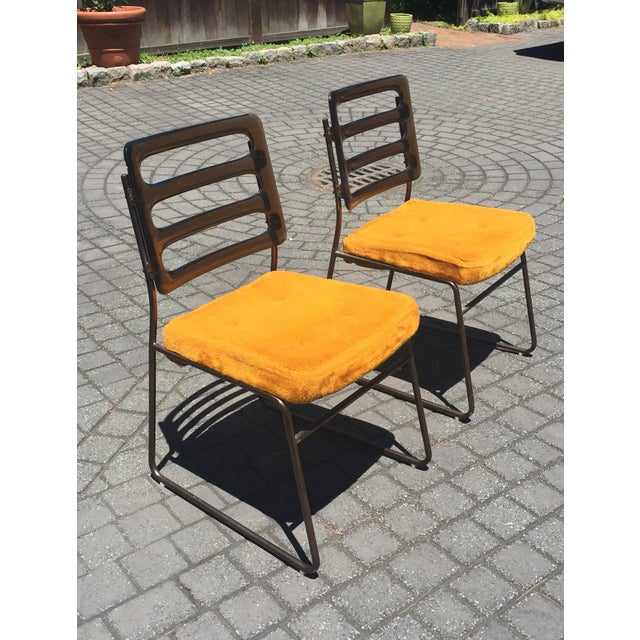Mid-Century Chrome Craft Amber Lucite & Orange Chairs - A Pair - Image 7 of 10