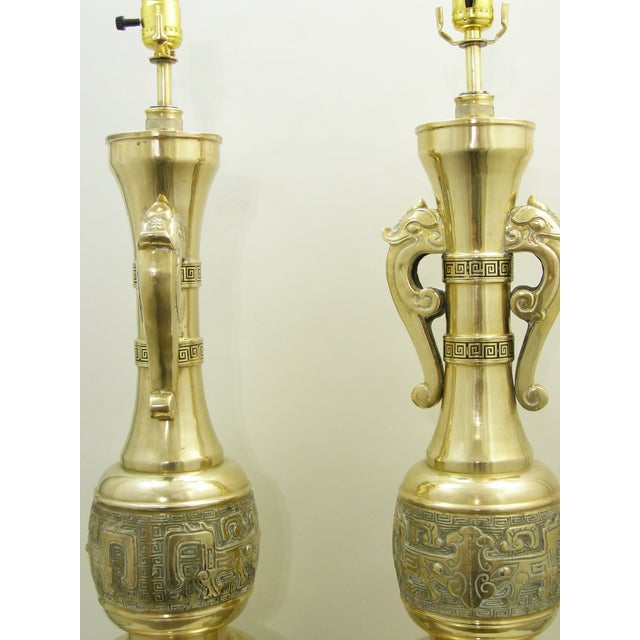 Monumental Large Asian Brass Table Lamps Mid-Century Modern McM- a Pair - Image 5 of 11