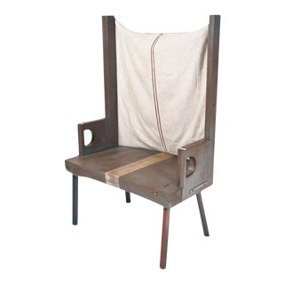 Custom Solid Wood Chair With Grain Sack Upholstery
