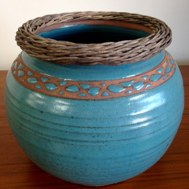 Weaved Wood And Teal Ceramic Vessel - Image 2 of 7
