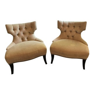 Baker Brass Nailhead Lounge Chairs - A Pair