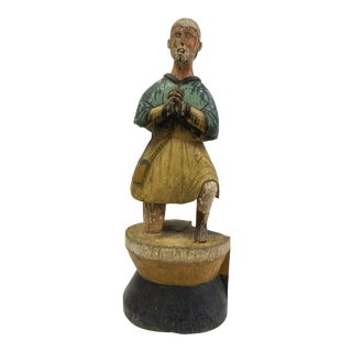 19th Century Carved Wood Religious Sculpture of San Isidore