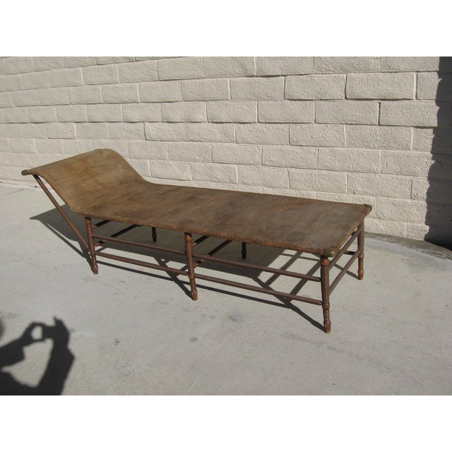 Antique 1900s rattan maple chaise lounge chairish for Antique wicker chaise lounge