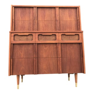 Mid-Century Highboy with Cane Details