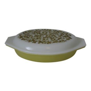 Vintage Pyrex Olive Verde Divide Lidded Casserole Dish