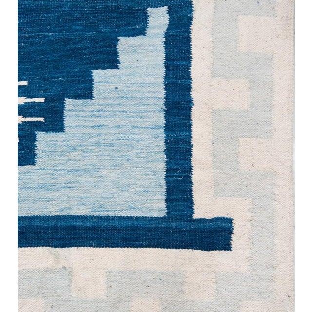 Blue & White Handwoven Geometric Rug - 5′ × 8′6″ - Image 2 of 4