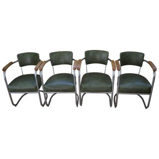 Antique 1930s Chrome Office Chairs - Set of 4