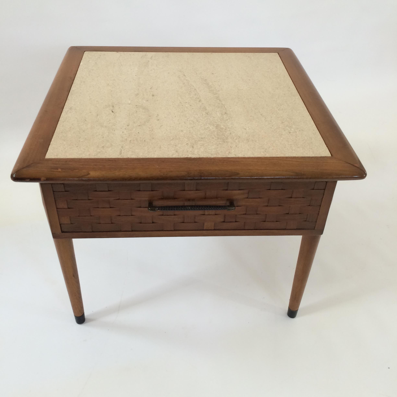 Mid Century Modern Travertine Side Table   Image 4 Of 6