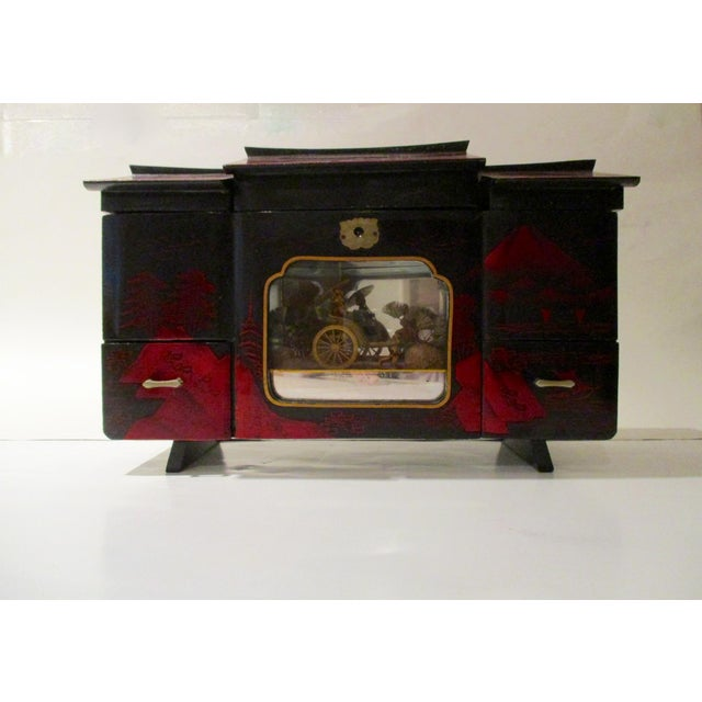 Asian Black Lacquer Jewelry Music Box - Image 10 of 11