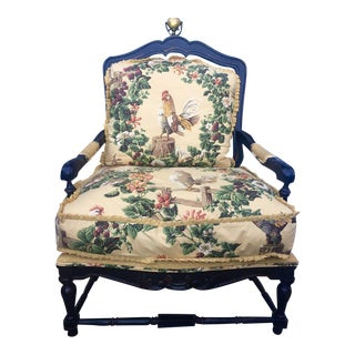 French Country Floral Bergere Chair