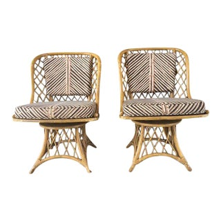Mid-Century Bamboo & Rattan Chairs - a Pair