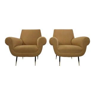 Minotti 1950s, Fully Restored Pair of Italian Lounge Chairs by Gigi Radice