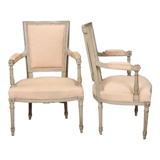 Pair French Louis XVI Style Arm Chairs C.1900