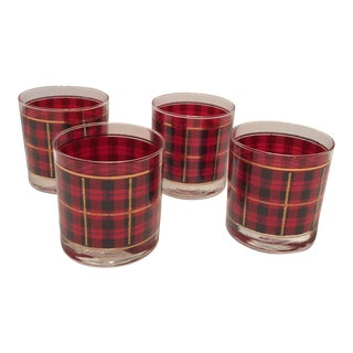 Vintage Crowning Touch Red Plaid Scotch Lowball Glasses- Set of 4