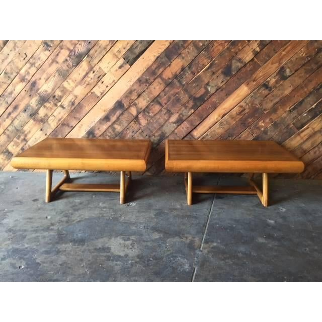 Mid-Century 50's Walnut Maple Side Tables - Image 2 of 5